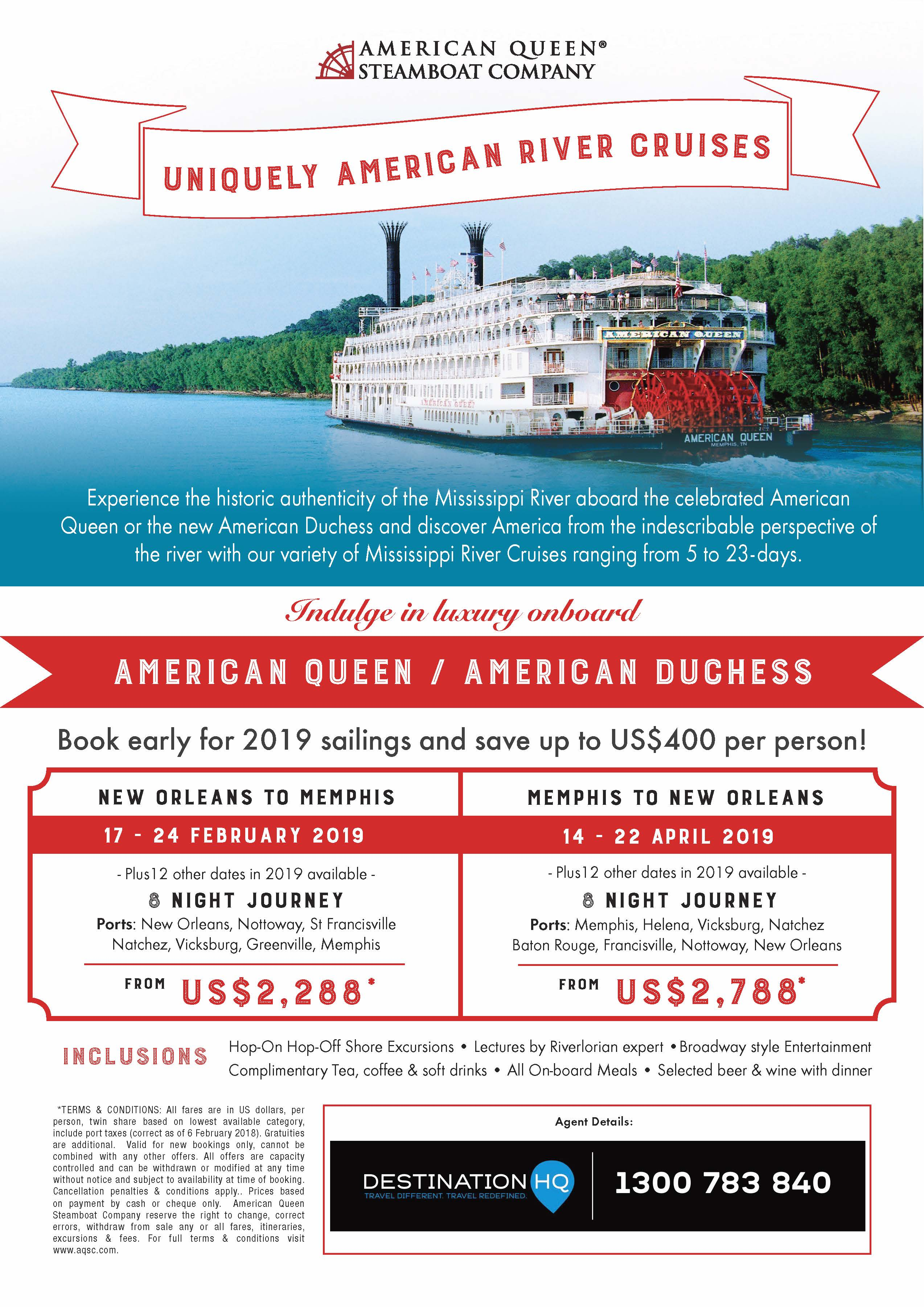 river cruising hq experience a uniquely american river cruise along the mississippi onboard an american steamboat call today for more details 1300 783